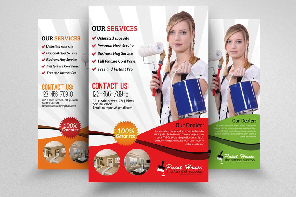house painter service flyer flyer templates on creative market. Black Bedroom Furniture Sets. Home Design Ideas