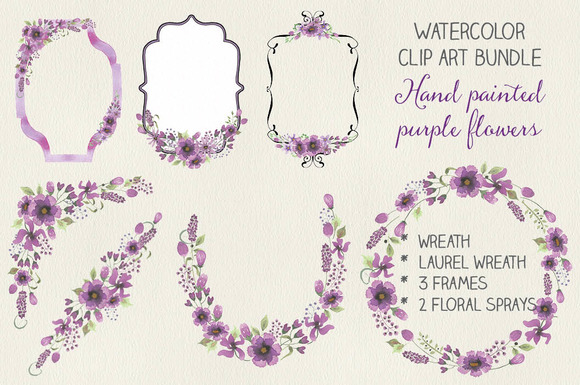 Watercolor Clip Art Purple Flowers