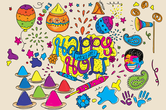 Happy Holi Graphics Set