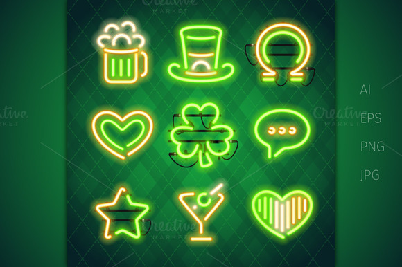 St. Patrick's Day Neon Signs Set - Illustrations