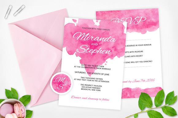 Watercolor Wedding Invitation Pack
