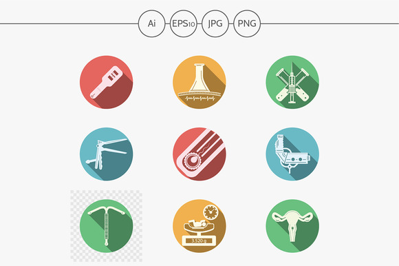 Gynecology round vector icons. Set 2 - Icons