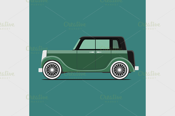 Vintage car. Isolated on green - Graphics