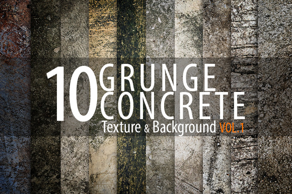 10 Grunge Concrete Background Vol.1 - Textures