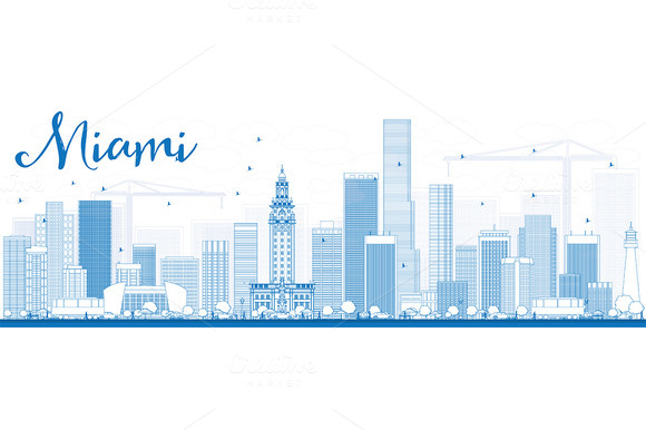Outline Miami Skyline With Buildings