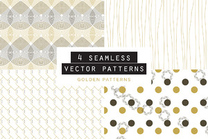 Golden Seamless Pattern set of 4