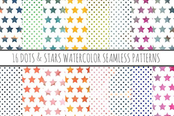 16 Watercolor Patterns Stars Dots
