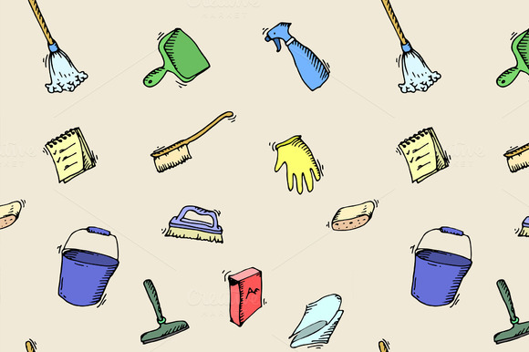 Pattern Of House Cleaning Icons