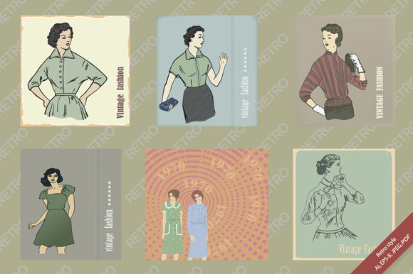 Set Of Illustrations Retro Style