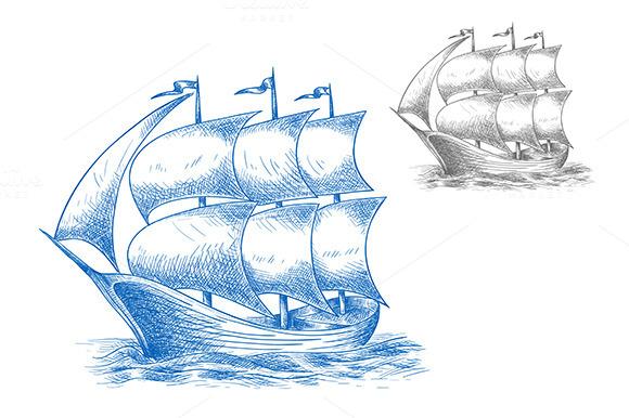 Vintage Sail Ship In Ocean Waves
