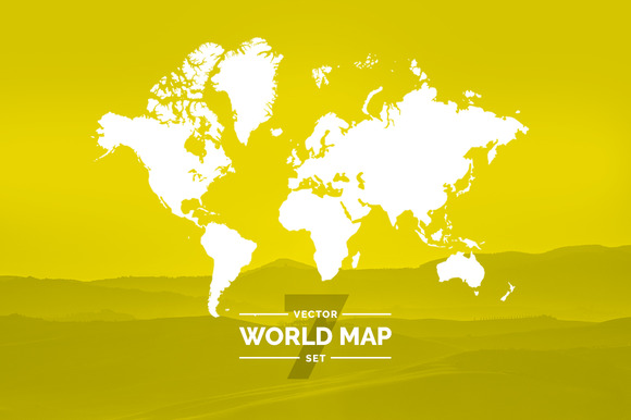 Set World Maps Dotted Silhouette