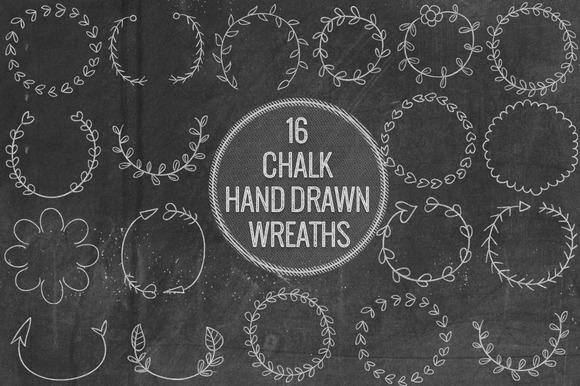 Chalk Hand Drawn Wreathes