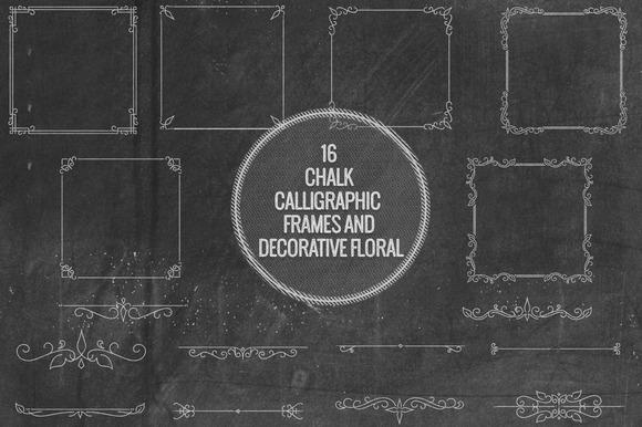 Chalk Calligraphic Frames Florals