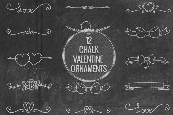 Chalk Valentine Ornaments
