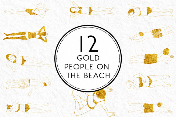 Gold People On The Beach