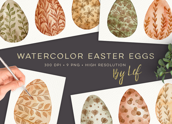 easter graphics eggs watercolor pixels tall wide creativemarket global