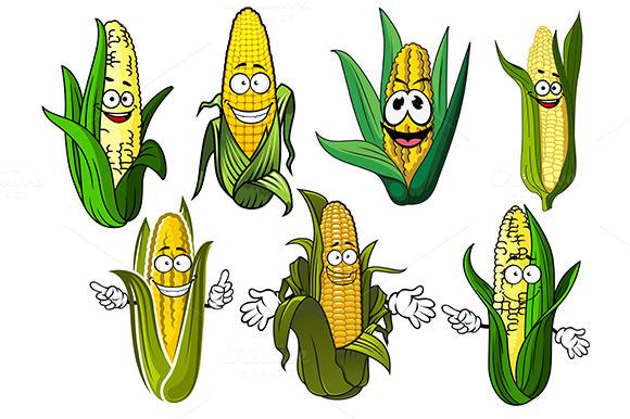 Cartoon Corn Cobs With Golden Grains