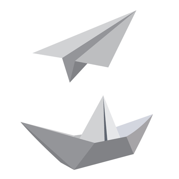 Paper Ship Airplane Vector