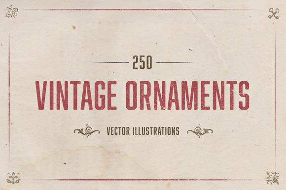 250 Vintage Illustrated Ornaments
