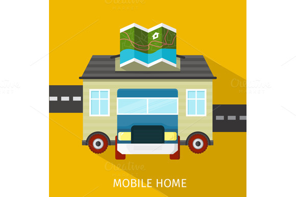 Mobile Home Flat Design Banner