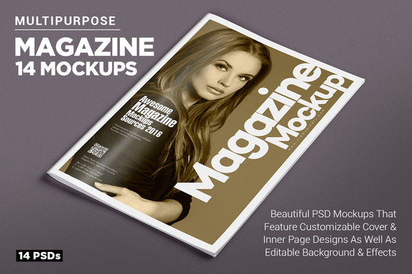14 Magazine Mockups Vol. 7 - Product Mockups