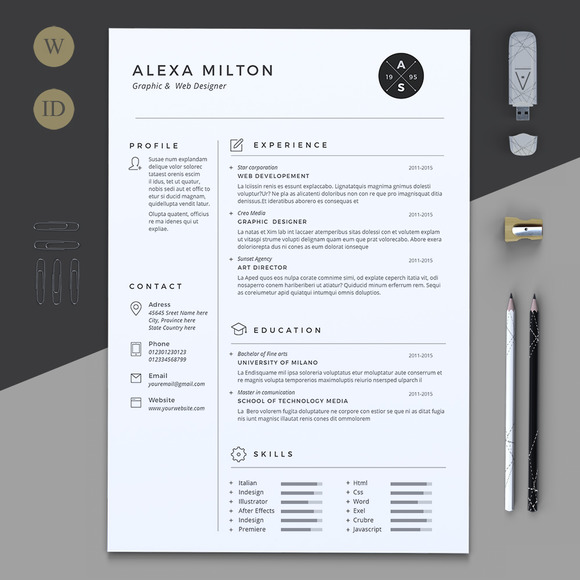 2 pages resume resume templates on creative market