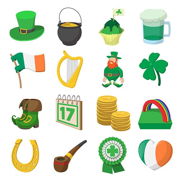 St Patrick Day Cartoon Icons