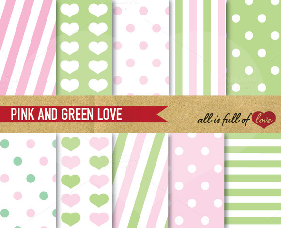 Pink Green Digital Backgrounds Kit