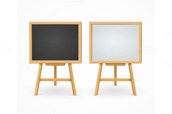 Black Board And White Set On Easel