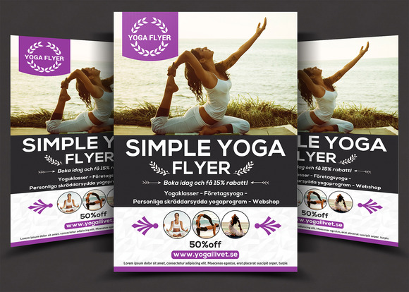 Simple yoga flyer flyer templates on creative market for Yoga brochure templates free