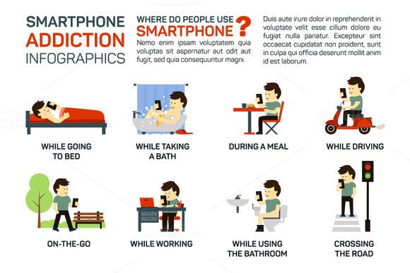 Vector Flat Smartphone Addiction