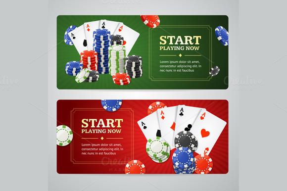 Poker Casino Banner Set Vector