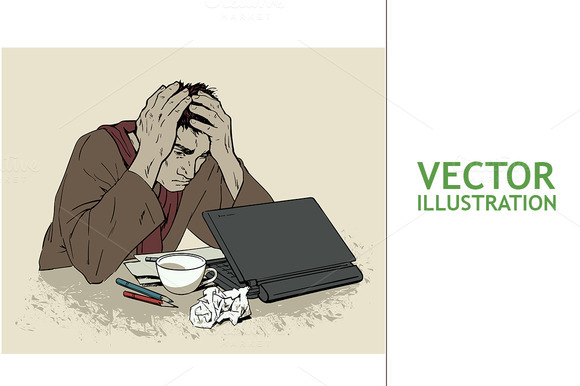 Man in Despair at Computer. Headache - Illustrations