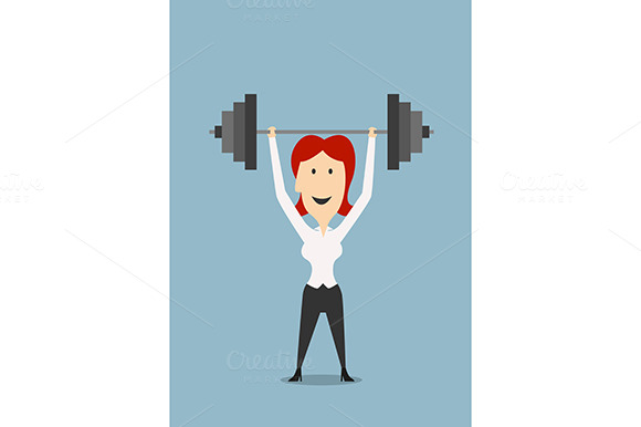 Businesswoman With Dumbbell