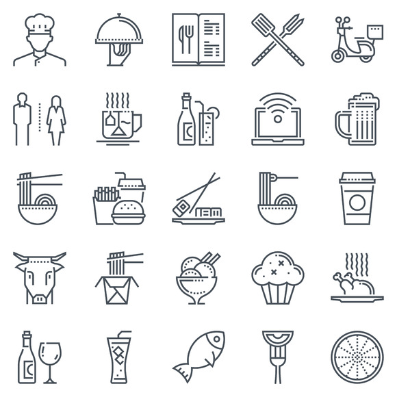 Restaurant Icon Set 25 Icons