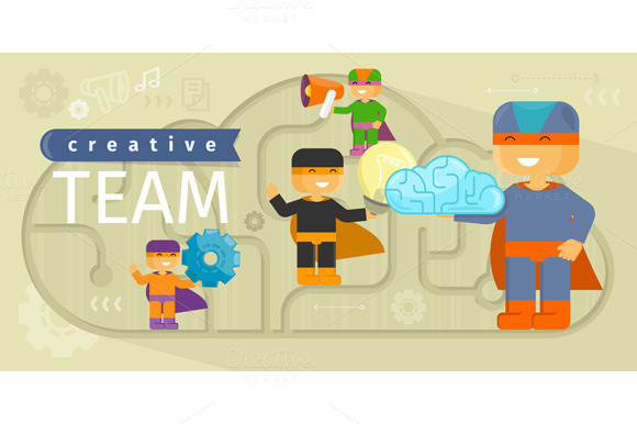 Creative Team Design Flat Concept
