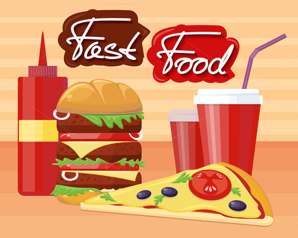 Fast Food Pizza Burger Design Flat