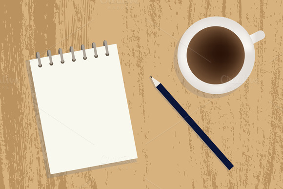 Coffee Notebook And Pencil