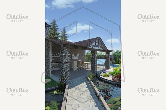Decorative Pond And Garden Pavilion