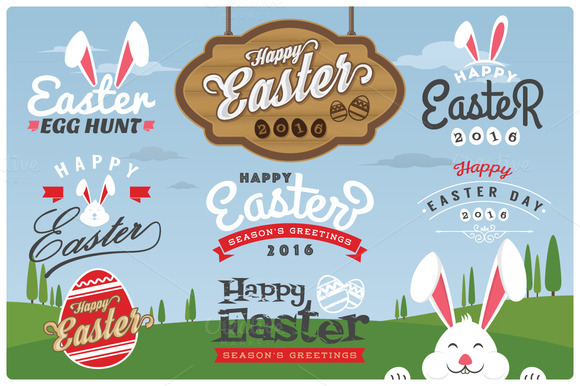 Easter Typography Labels And Element