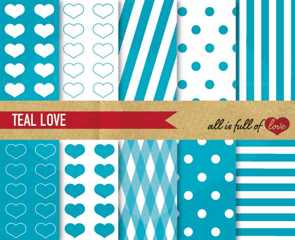 -60% Teal Blue Illustration Set Love