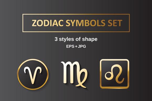 Golden Zodiak Symbols Vector Set