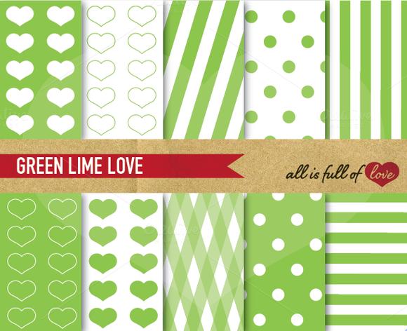 Lime Green Digital Patterns Set