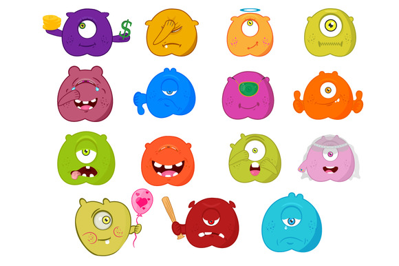 Set 15 Of Smileys Emoji Vector
