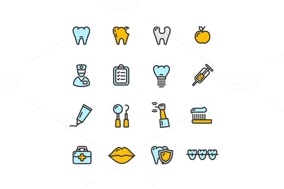 Dental Tooth Doctor Color Icon Set