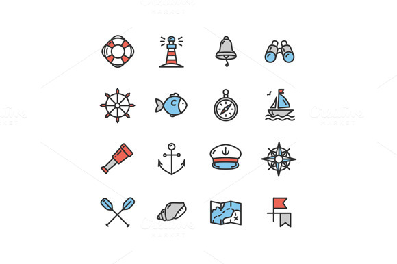 Nautical Sea Icon Set Vector