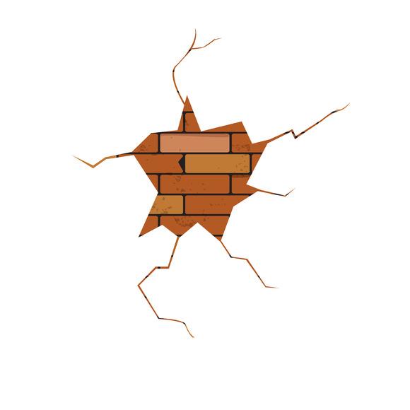 Vector Crack Brick Wall