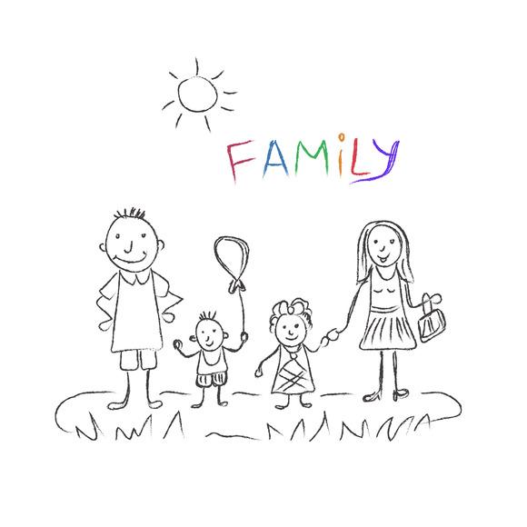 Family Sketch Vector Illustration