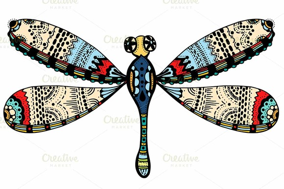 Ornate Zentangle Dragonfly