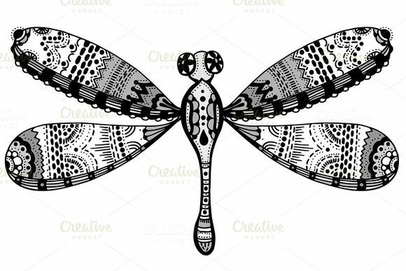 Zentangle Stylized Dragonfly